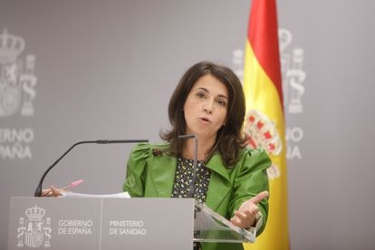 Health state secretary, Silvia Calzón, at a government press conference on the coronavirus crisis on Thursday.
