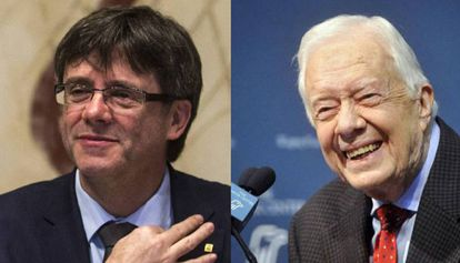 Carles Puigdemont (left) and Jimmy Carter.