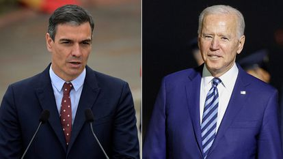 A photo montage of Pedro Sánchez and Joe Biden, both pictured on Wednesday.