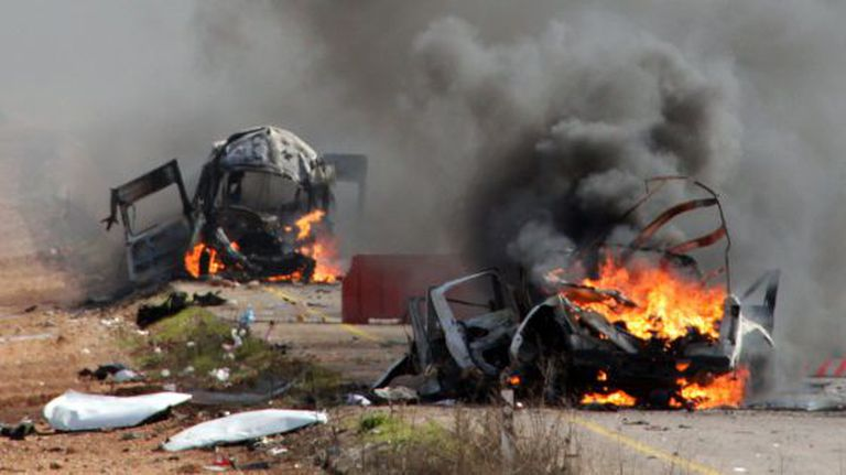 Vehicles burn in the village of Ghayar, Lebanon, on Wednesday, when the incident between Israeli forces and Hezbollah occurred.