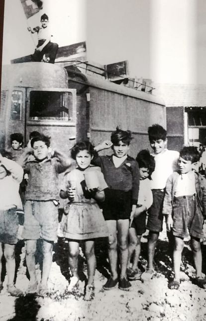 A photo of Spaniards on display at the Rivesaltes memorial.