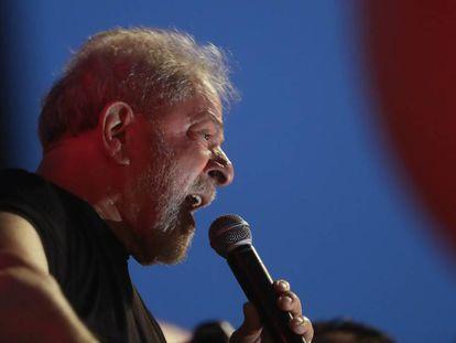 Lula da Silva during a protest in Sao Paulo