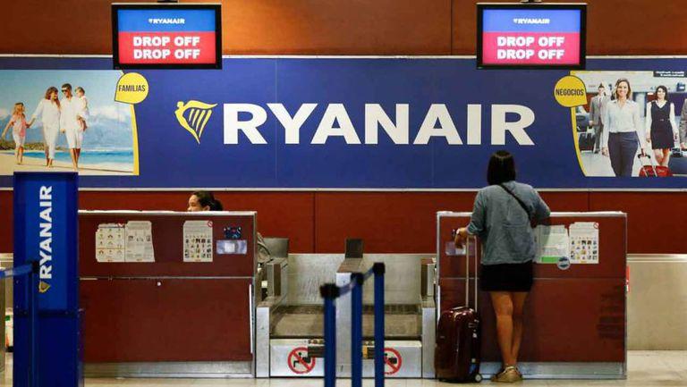 Ryanair counter at the El Prat airport in Barcelona.