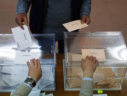 A voter casts his ballot at the April 28 general election.