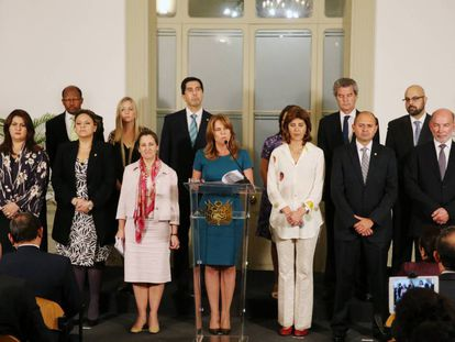 The ministers at the gathering of the Lima Group.