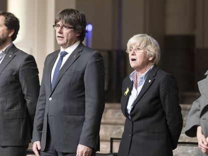 From left: Antoni Comín, Carles Puigdemont, Clara Ponsatí and Meritxell Serret in Brussels.