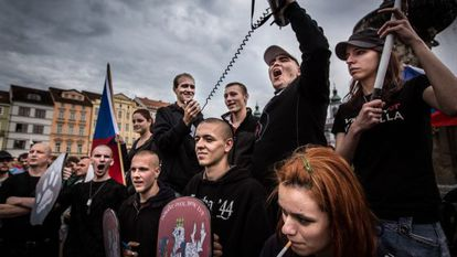 A group of young neo-Nazis pictured in the Czech Republic in June, shortly before they tried to enter a Gypsy ghetto.
