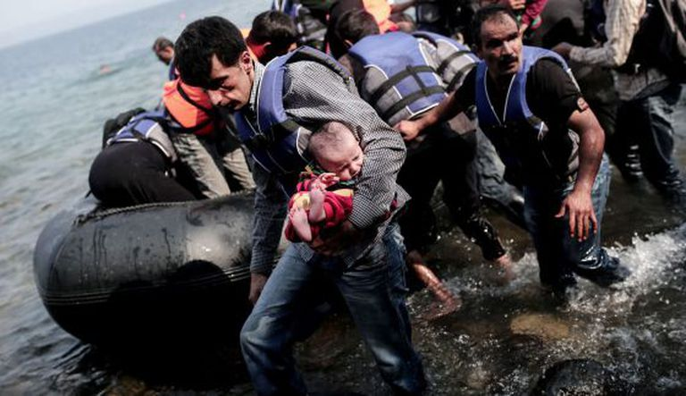 A group of refugees arriving at the Greek island of Lesbos on Thursday.