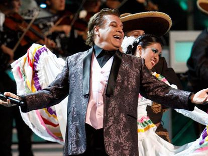 Juan Gabriel during a concert in Mexico City.
