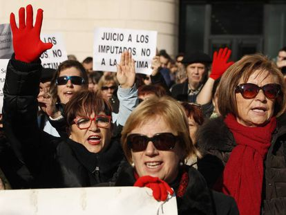 A protest outside the Pamplona courthouse on Wednesday.