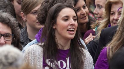 Equality Minister Irene Montero at the International Women's Day march in Madrid.