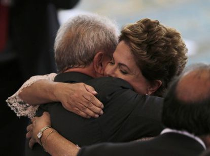 Rousseff and Lula da Silva embrace after her inauguration in January.