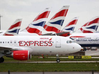 Iberia and BA planes at Heathrow.