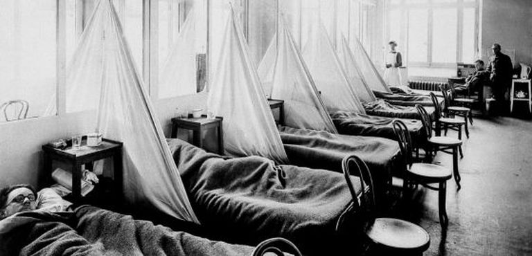 US soldiers suffering from Spanish flu in 1918 in Langres, France.