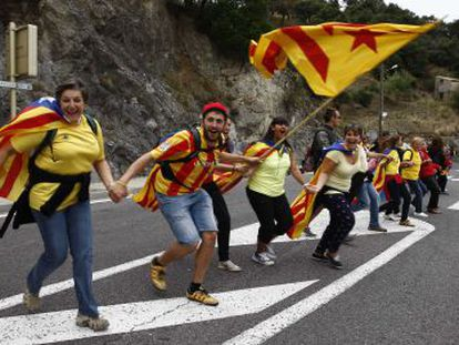 Catalans show their support for independence by forming a human chain across the region during national day celebrations last September.