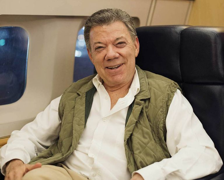 Juan Manuel Santos after the interview aboard the presidential plane.