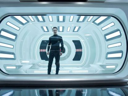 Benedict Cumberbatch in a scene from the new Star Trek movie.
