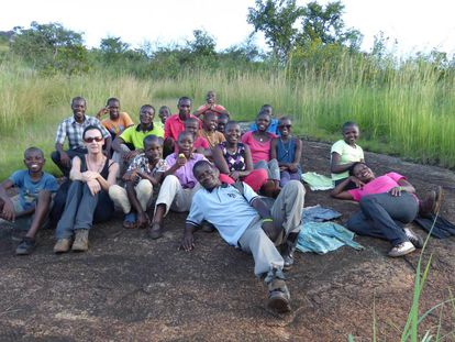 Hiking with staff and children from Omwaana Tugende children's home.