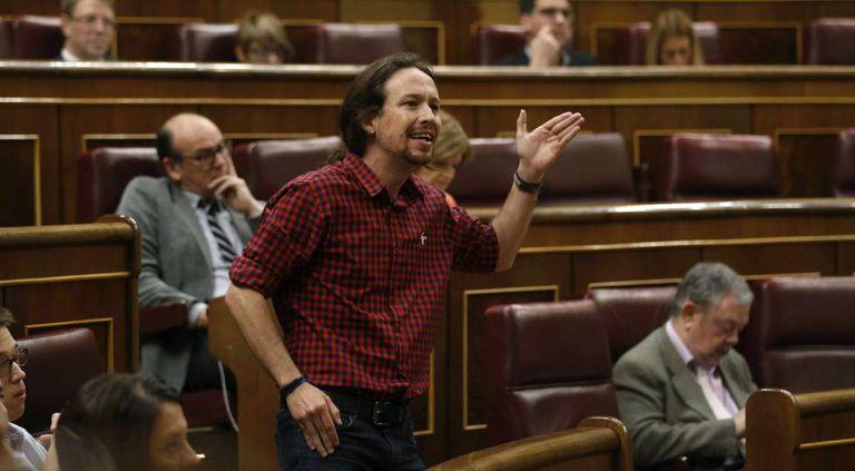 Podemos leader Pablo Iglesias addressing Congress at the last session of the current legislature.