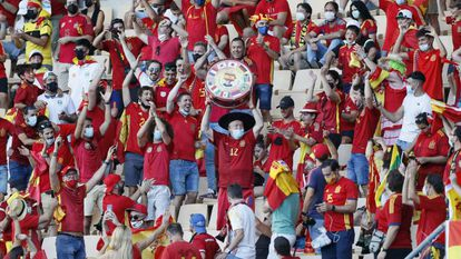 Spanish fans at the Spain-Slovakia Euro 2020 match in Seville on Wednesday.