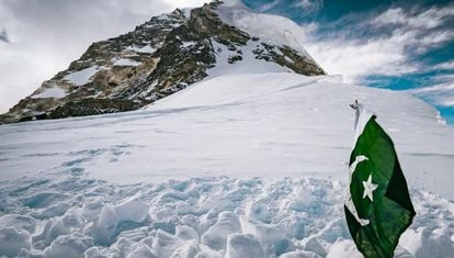 The site where Sajid Sapdara buried his father, Ali, on K2, at almost 8,000 meters.