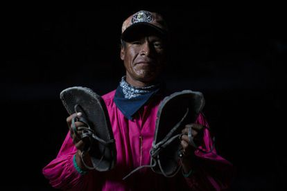 Miguel Villegas, aged 33, has competed in the Caballo Blanco race for the last six years. Like most Tarahumara, he makes his own sandals.