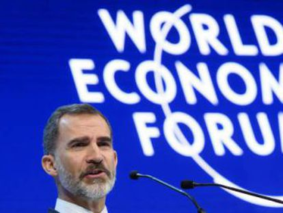The speech by Felipe VI marked the first time a Spanish head of state has addressed the WEF meeting