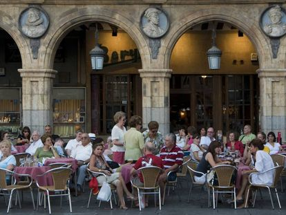 A terrace in the main square in Salamanca.