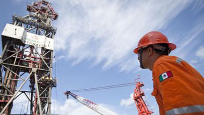 A Pemex worker in the Gulf of Mexico.