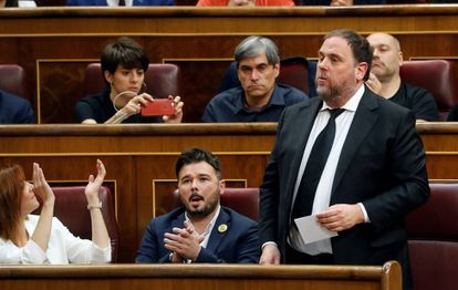The leader of the Catalan Republican Left, Oriol Junqueras, at the swearing in ceremony in Congress.