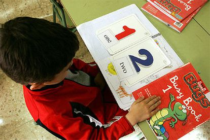 A child at a Madrid school on the bilingual education program.