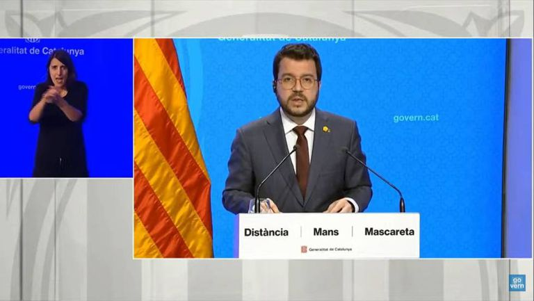 Catalonia's acting premier Pere Aragonès at a news conference on Thursday.