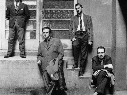 Writers Jaime Gil de Biedma, José Agustín Goytisolo, Carlos Barral and José María Castellet in 1961