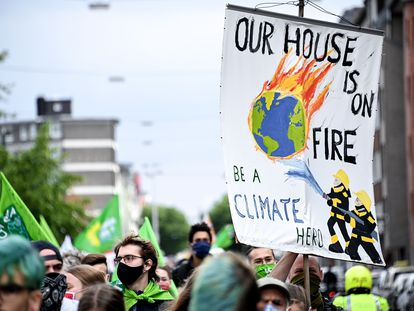 A 'Fridays for Future' protest in Düsseldorf, Germany in July 2020.