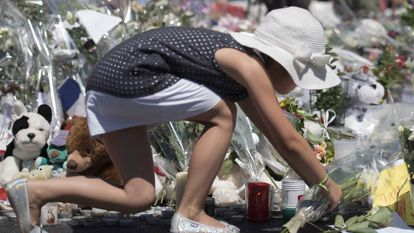 Candles and flowers honoring the victims of the Nice attack