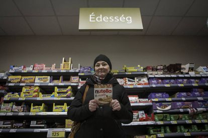 Katalin Horvath at a supermarket in the Hungarian town of Sopron, near the border with Austria.