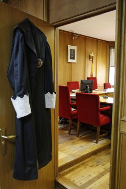 A judge's robes hang on a courtroom door during a previous strike in 2009.
