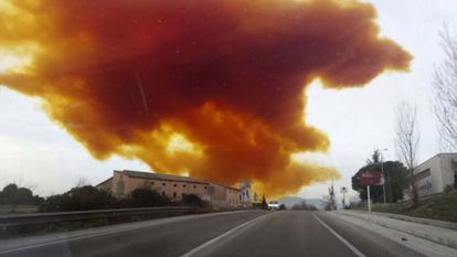 A toxic orange cloud emerges from a chemical plant following an explosion near Barcelona.