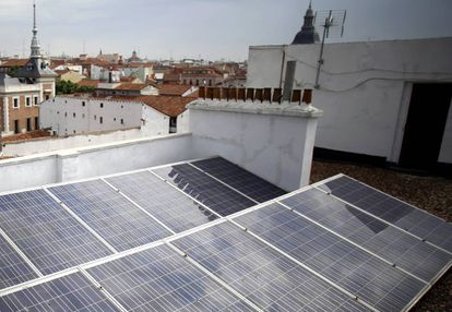 Solar panels on a building in Madrid.