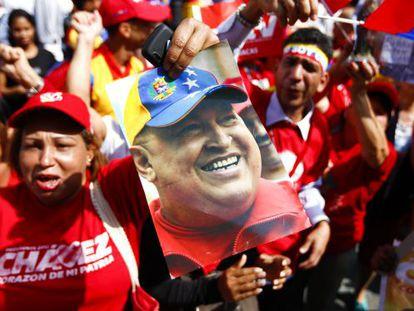 Chávez supporters celebrate the president's return to Caracas on Monday.