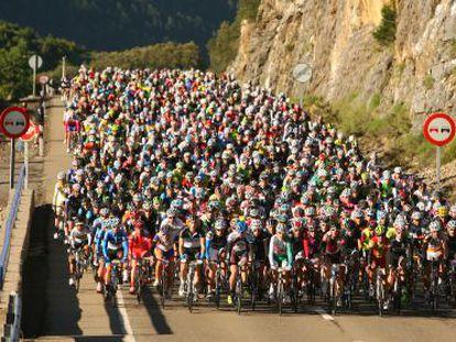 Hundreds of cyclists take part in the 200-kilometer Quebrantahuestos event.