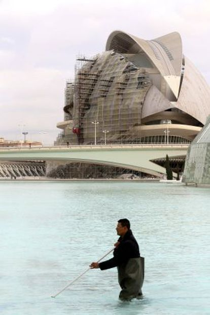 A worker cleaning the pond at the City of Arts and Sciences in Valencia.