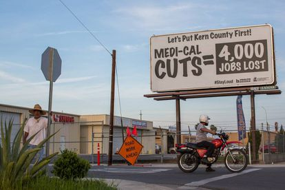 Hoardings in Bakersfield protesting healthcare cuts.