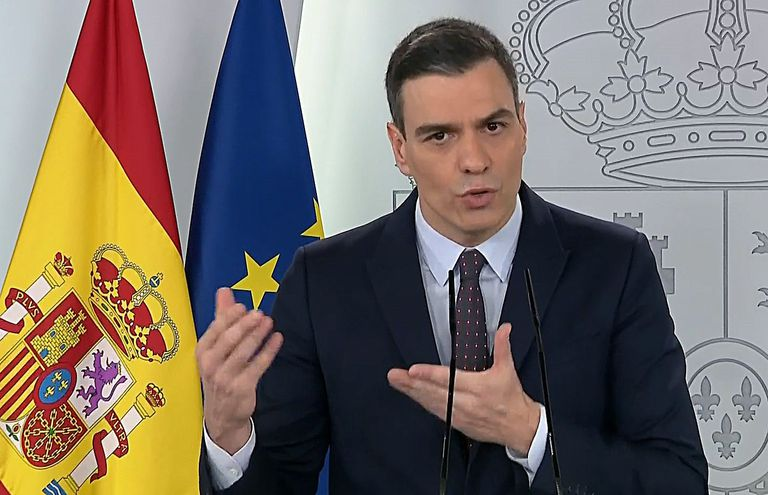 Pedro Sánchez during his televised address on Saturday
