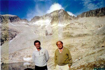 Jordi Pujol and his son Jordi hiking in the Pyrenees in 1999.
