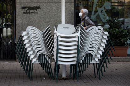 A closed sidewalk café in Barcelona.