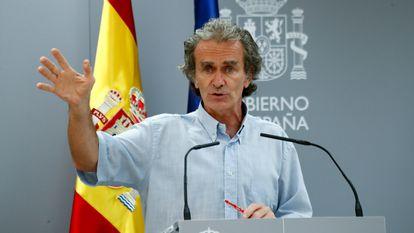 Fernando Simón during Monday's press conference.