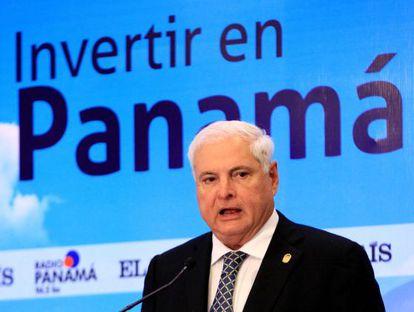 "Panamanian President Ricardo Martinelli at this week's ""Invertir en Panamá"" forum."