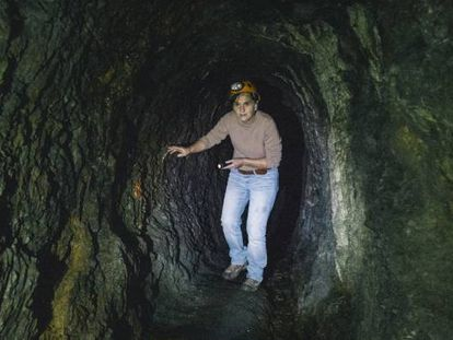 Mertxe Urteaga inside a tunnel made by the Romans under Peñas de Aya in Spain's Basque Country.