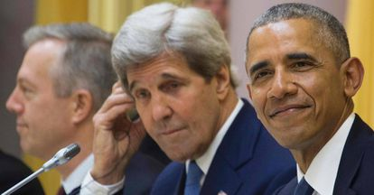 US President Barack Obama and State Secretary John Kerry.